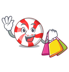 Shopping peppermint candy character cartoon vector