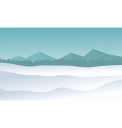 Silhouette of hill winter scenery vector