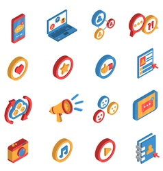 Social Network Isometric Icon Set vector