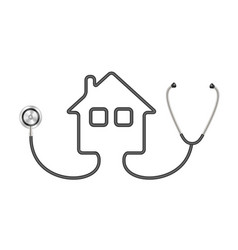 stethoscope in shape of house in black design vector image