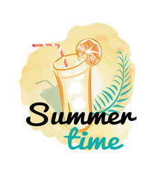 summer time background with fresh drink vector image