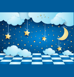 surreal night with hanging moon clouds and floor vector image