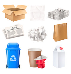 Trash and waste set vector