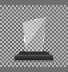 Trophy glass award plexi glass award plate vector