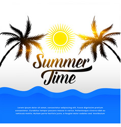 tropical summer background with tree and sun vector image