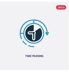 Two color time passing icon from productivity vector