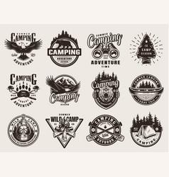 vintage outdoor adventure emblems vector image