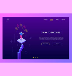 way to success - modern isometric website vector image