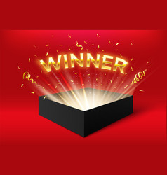 winner glowing box with golden ribbons and vector image