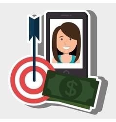 woman smartphone target money bills vector image