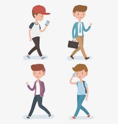 Young men walking avatars characters vector