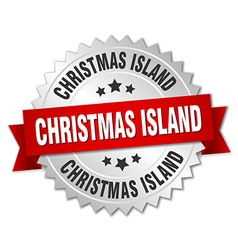 Christmas Island round silver badge with red vector image vector image
