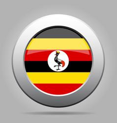 flag of uganda shiny metal gray round button vector image
