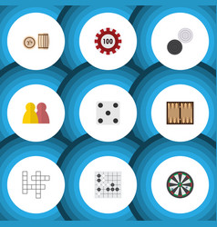 flat icon games set of chequer backgammon vector image vector image