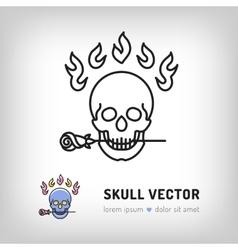 skull logo design template Line art icon vector image vector image