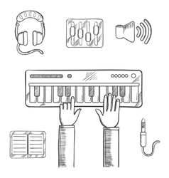 Sound recording and music icons sketch vector image vector image