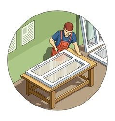 Worker make window vector image