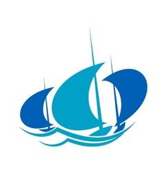 Yachts sailing on blue ocean waves vector image