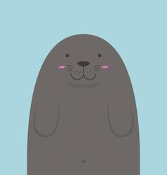 cute big fat monk seal vector image vector image