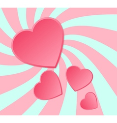 Pink paper hearts background vector image vector image