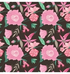 Summer Floral Pattern on Brown Background vector image