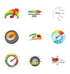 Types of speedometers icons set cartoon style vector