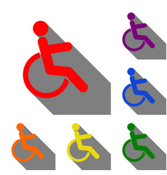 disabled sign set of red orange vector image