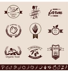 farm organic food emblems and labels set vector image