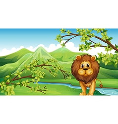 The mountain view with a lion and a river vector