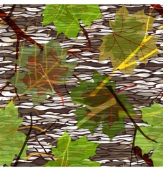 Camouflage seamless pattern with maple leaves vector image