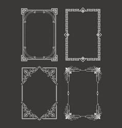chalk style set vintage frames decorative border vector image