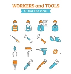 Construction workers tools line icons set vector image vector image