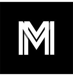 Letter M wide white stripes Logo monogram emblem vector image vector image