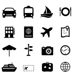 travel and holiday icons vector image vector image