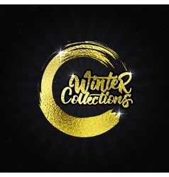 Winter collections gold effect calligraphic header vector image vector image