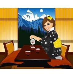 woman in kimono pouring tea vector image vector image