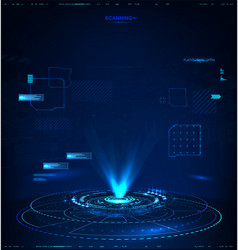 3d abstract hologram with hud interface vector