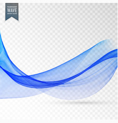 Abstract blue smooth wave on transparent vector