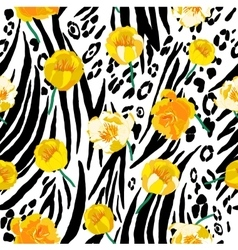 Abstract seamless animal skin pattern with yellow vector