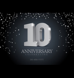 Anniversary 10 silver 3d numbers vector