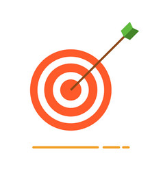 Archery target with arrow icon vector
