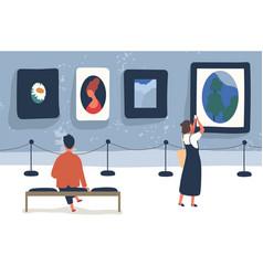 art museum visitors flat vector image