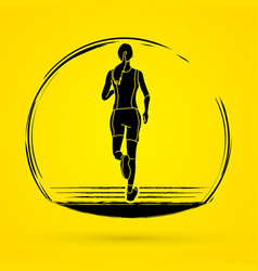 Athlete runner running back view vector