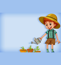 Background template design with boy watering plant vector