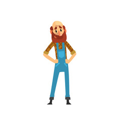 Bearded farmer character in overalls cheerful vector