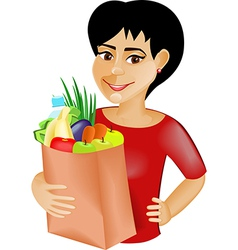 Black haired girl with the products vector image
