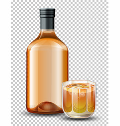 Bottle and glass of whiskey vector