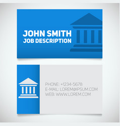 business card print template with courthouse logo vector image