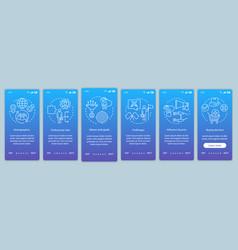 Buyer persona blue gradient onboarding mobile app vector