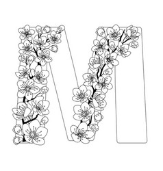 Capital letter m patterned with contour drawn vector